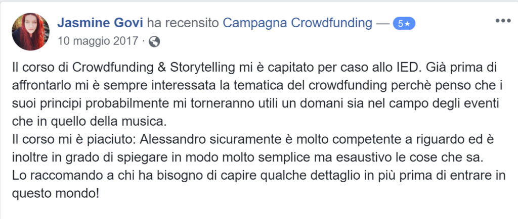 Recensione campagna crowdfunding 6